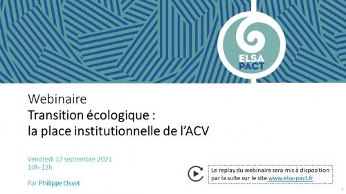 Webinaire - Transition écologique: la place institutionnelle de l'ACV